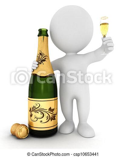 biały, szampan, 3d, ludzie - csp10653441