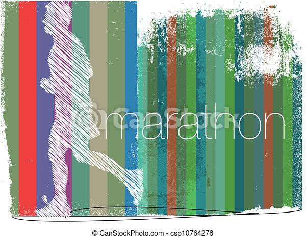 biegacz, abstrakcyjny, ilustracja, tło., wektor, maraton - csp10764278