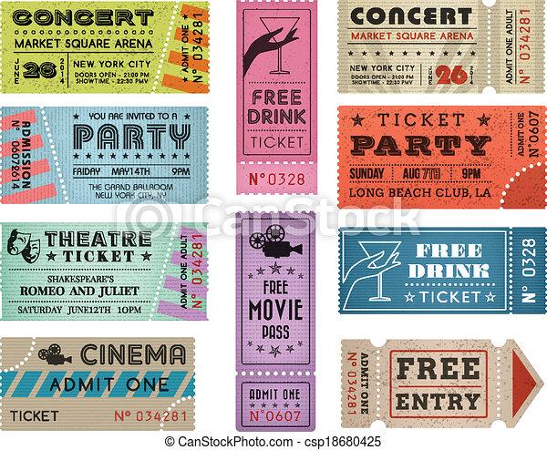 bilety, 3, wektor, grunge, zbiór - csp18680425