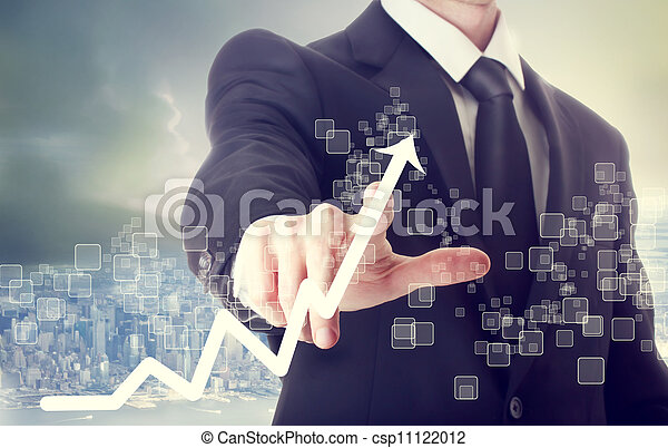 biznesmen, dotykanie, wzrostowa mapa morska, wskazywanie - csp11122012