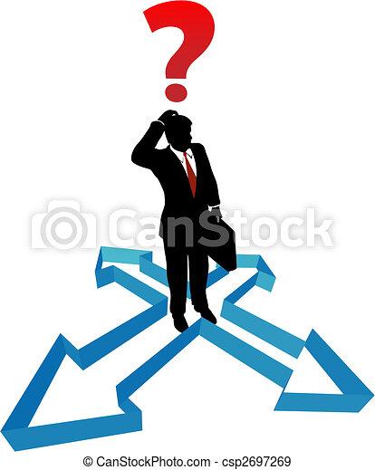 biznesmen, kierunek, strzały, niezdecydowanie, pytanie - csp2697269