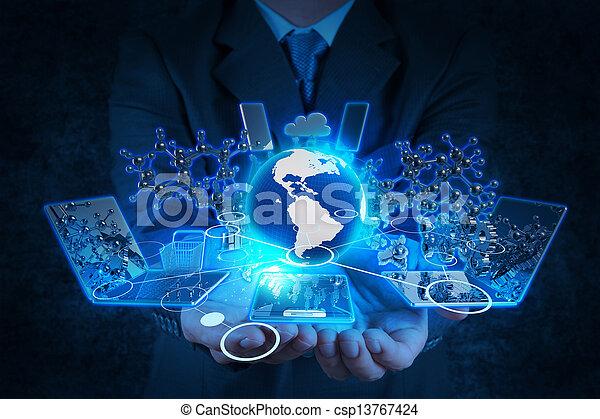 biznesmen, nowoczesna technologia, pracujący, ręka - csp13767424