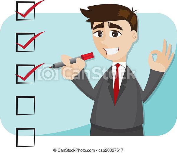 biznesmen, rysunek, checklist - csp20027517