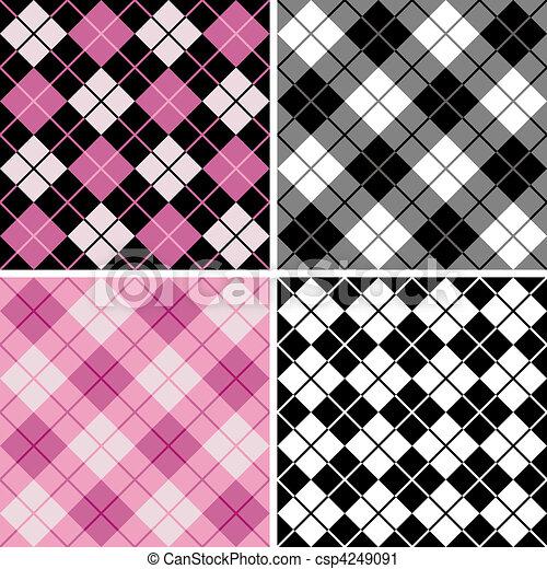 black-pink, argyle-plaid, próbka - csp4249091