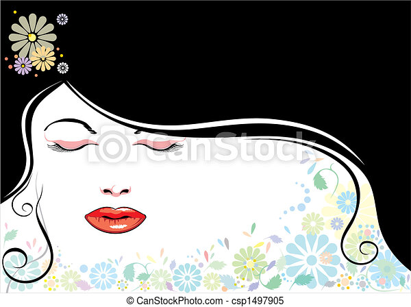 blackhair, twarz, kwiat - csp1497905