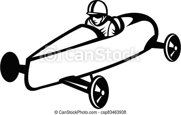 bok, retro, biały, albo, derby, biegi, biegacz, mydło, soapbox, wóz, czarnoskóry, boks - csp83463938