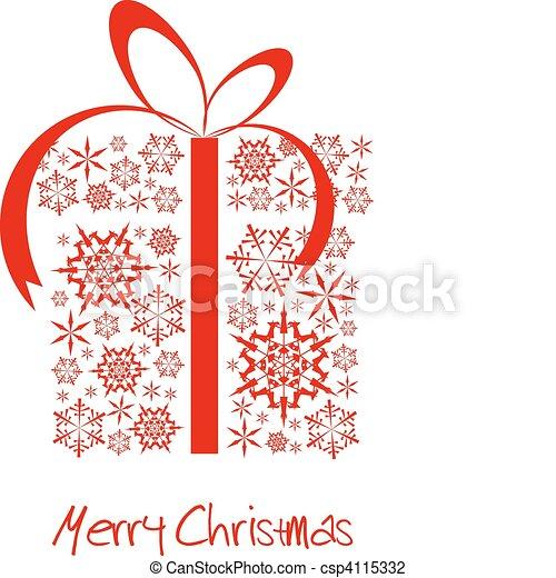 boks, robiony, płatki śniegu, czerwony, boże narodzenie obecne - csp4115332