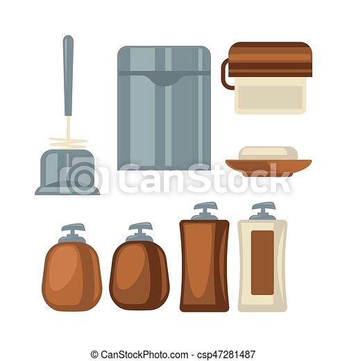 brązowy, łazienka, rzeczy, szary, zbiór, kolor - csp47281487