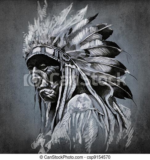 capstrzyk, głowa, na, ciemny, amerykański indianin, tło, portret, sztuka - csp9154570
