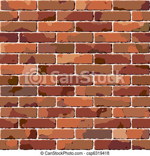cegła, wall., stary, seamless, texture. - csp6319418