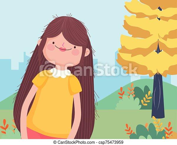celebrowanie, dziękczynienie, cityscape, kobieta, szczęśliwy uśmiechnięty, rysunek, park - csp75473959