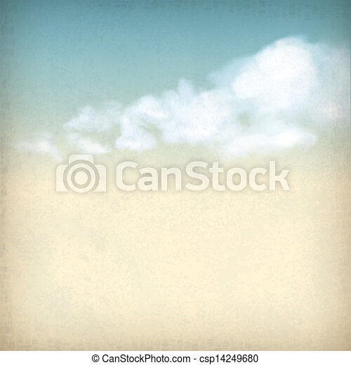 chmury, rocznik wina, niebo, papier, tło, textured, stary - csp14249680