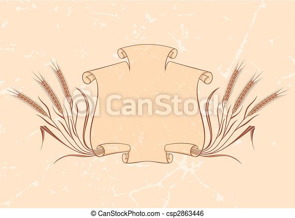 chorągiew, wektor, pszenica, beżowy - csp2863446