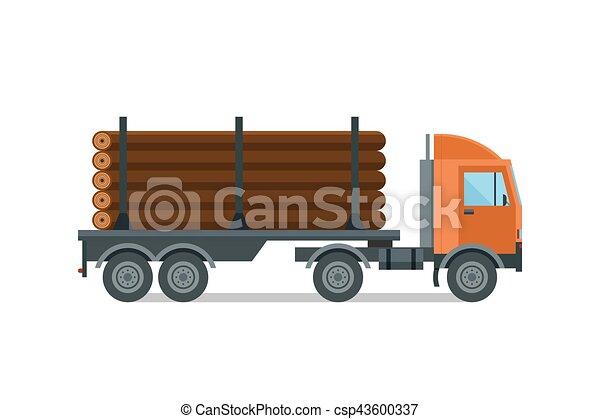 ciężki, samochód wyróbki, vector., załadowany, budulec - csp43600337