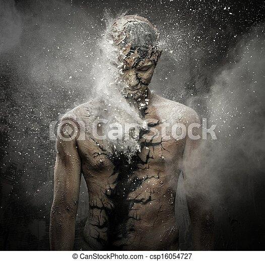 ciało, konceptualny, duchowna sztuka, człowiek - csp16054727