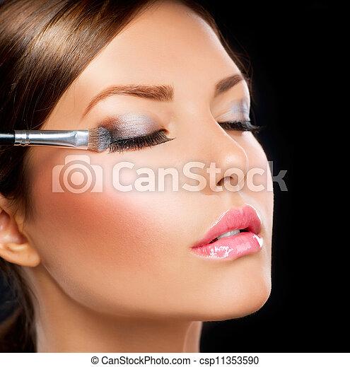cień, applying., oko, szczotka, charakteryzacja - csp11353590