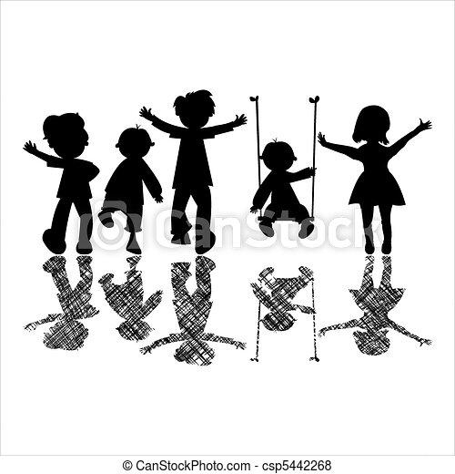 cienie, mały, szczęśliwy, pasiasty, dzieci - csp5442268