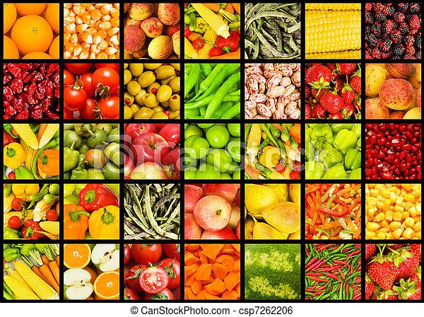 collage, dużo, warzywa, owoce - csp7262206