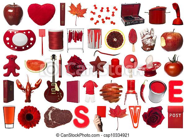 collage, obiekty, czerwony - csp10334921