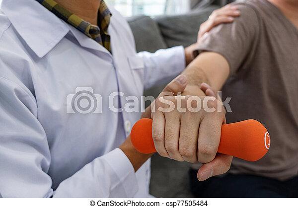 concept., ruch, cierpliwa fizykoterapia, pracujący, fizykoterapeuta - csp77505484