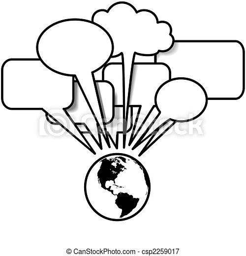 copyspace, zachód, blogs, rozmowy, mowa, tweets, ziemia, bańka - csp2259017