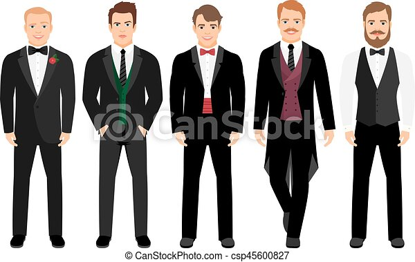 człowiek, garnitur, komplet - csp45600827