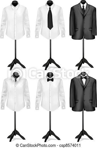 czarna koszula, garnitur, biały - csp8574011