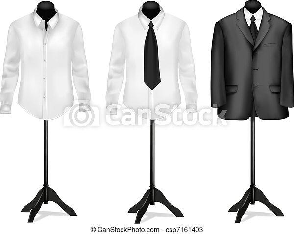 czarnoskóry, koszule, garnitur, biały - csp7161403