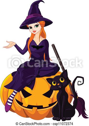 czarownica, halloween, dynia - csp11072374