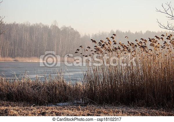 czas, pogoria., jezioro, zima krajobraz, polska - csp18102317