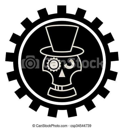 czaszka, kapelusz, cylindre - csp34544739