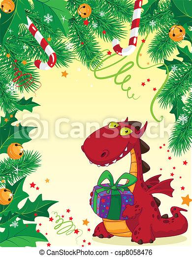 czerwony, kartka na boże narodzenie, smok - csp8058476
