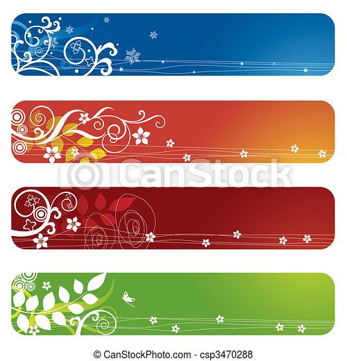 cztery, kwiatowy, chorągwie, bookmarks, albo - csp3470288