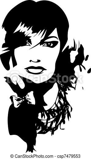 dama, młody, ilustracja - csp7479553