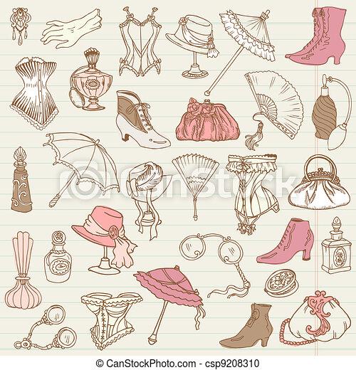 damski, fason, doodle, -, przybory, zbiór, ręka, wektor, pociągnięty - csp9208310