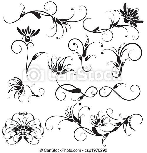 dekoracyjny, kwiatowe elementy, projektować - csp1970292