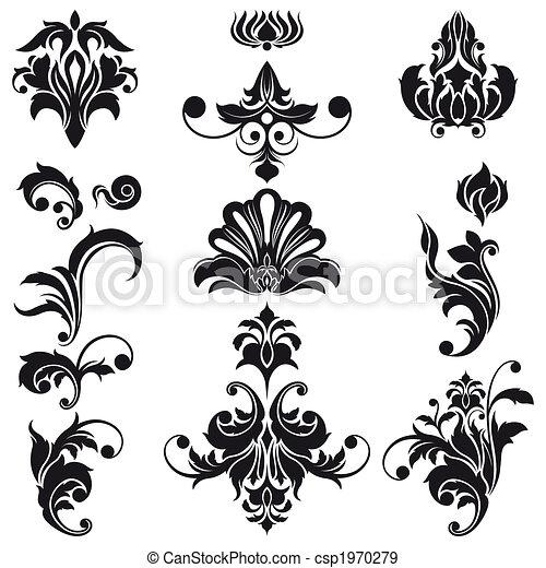 dekoracyjny, kwiatowe elementy, projektować - csp1970279