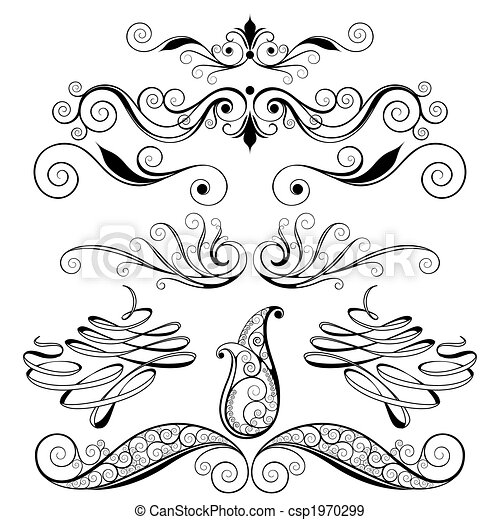 dekoracyjny, kwiatowe elementy, projektować - csp1970299