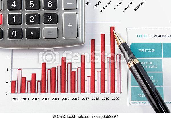 diagram, zameldować, pokaz, finansowy, pióro - csp6599297