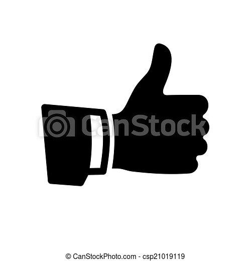 do góry, wektor, czarnoskóry, kciuk, ikona - csp21019119
