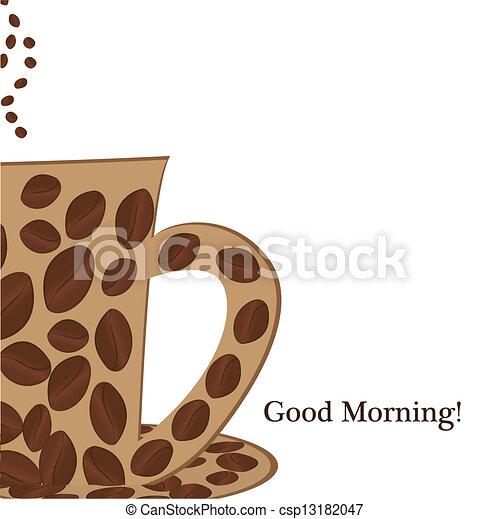 dobry, filiżanka, kawa, rano - csp13182047