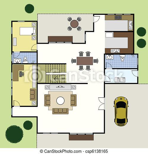 dom, architektura, floorplan, plan - csp6138165