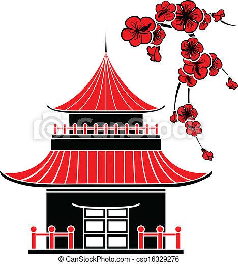 dom, asian, kwiaty, wiśnia - csp16329276