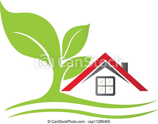 dom, drzewo, prawdziwy, logo, stan - csp11286455
