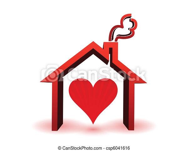 dom, wnętrze, serce - csp6041616