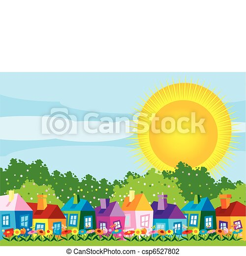domy, kolor, ilustracja, wektor - csp6527802