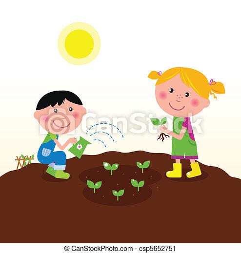 dosadzenie, dzieci, ogród, rośliny - csp5652751