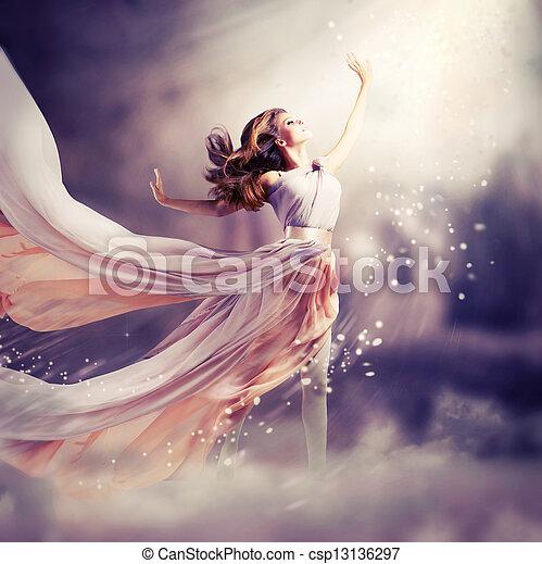 dress., dziewczyna, chodząc, szyfon, kaprys, scena, długi, piękny - csp13136297