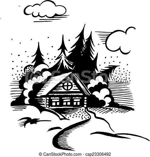 drewna, kabina - csp23306492