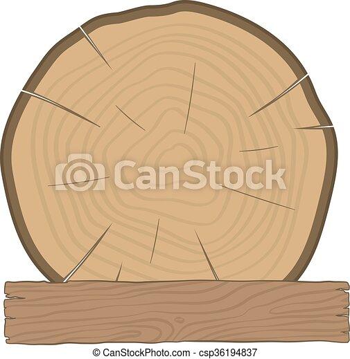 drewniana deska, kloc, budulec, etykieta - csp36194837